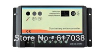 20A Duo Battery Solar Panel Charge Controller Regulator 12/24Vauto Dual Battery    Free shipping