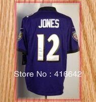 Baltimore 12 Jacoby Jones Purple Black white Game Football Jerseys 2013 New Free Shipping
