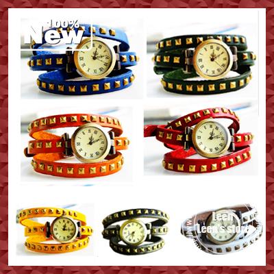 Pomotion New Ladies Vintage Wristwatches Women Square Rivet Leather Quartz Wrist Watch EMS Free Shipping 50pcs/lot Wholesale(China (Mainland))