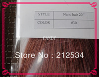 "NANO  hair  with rings 18"" -28''  soft&tangle free ANY COLOR EUROPEAN Remy Human Hair 100g/pack hair extensions"