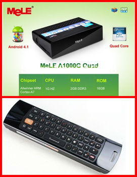 Quad Core Google Smart Android 4.1 TV Box Mele A1000G XBMC Mircast Box Wifi hdd Media Player 2GB RAM 16GB ROM+F10 Air Mouse