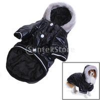 Free Shipping Black Pet Dog Hoodie Hooded Winter Puffy Coat Jacket