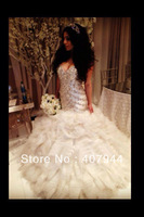 Free shipping 2013 NEW arrival  white organza sweetheart neckline beading/crystals ball gown wedding dress