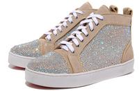 beige fancy coloured diamond high-top men's casual shoes