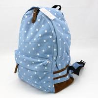 Polka dot water wash light canvas bag backpack small fresh young girl travel backpack