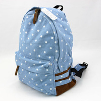 Polka dot polka dot water wash light canvas bag backpack small fresh young girl travel backpack