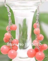Beauty Pink Coral Round   Grape shape Dangle Earring Fashion jewelry
