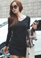 Women Casual V Neck Full Sleeve Solid Sheath Pullover Mini Dress Free Shipping D306-1223