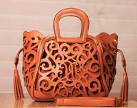 Free Shipping 2013 Women's PU Leather Handbag Fashion Street Basket Handbag Bag Candy Color Cutout Tassel Bag