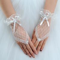 Princess bride wedding dress formal dress wedding dress gloves long design fingerless lace white st-04