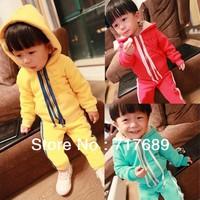 Free Shipping HOT Boys Girls Winter Warm sports Clothing Baby Suit infant thicken Set Kids Longsleeve Hoody Jacket+fleece Pants
