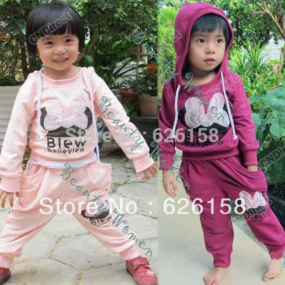 New arrival!! Cotton Sports sets Hoodie Coat + Haroun pants Baby girls /boys clothing sets purple/pink cartoon suits 5405(China (Mainland))