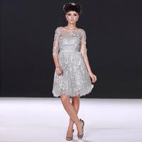 2013 Grey short design evening dress fashion embroidery evening dress wedding dress toadyisms bridesmaid formal dress 28090