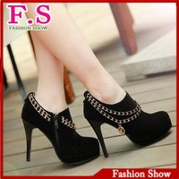 Big Size 34-42 High Quality Korean Stylish Sexy Chains Platform High Heels Shoes Fashion Women Dress Casual Pumps XB008