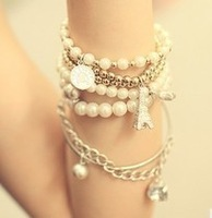 Free shipping multi element pearl vintage bracelet accessories multi-layer bracelet