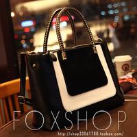 2013 women's spring handbag color block elegant fashion vintage bag one shoulder handbag messenger bag