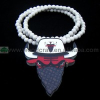 MASKED BULLS WOOD PENDANT NECKLACE FOR MEN HIP HOP STYLE CHEAP WITH WHITE AND RED BEAD CHAIN FAST SHIPPING