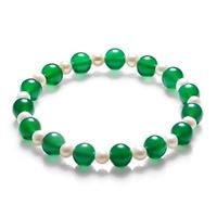 Freshwater pearl bracelet natural green agate bracelet send mom seniority table love
