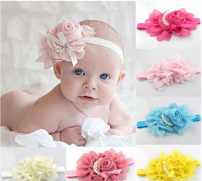 Free shopping!korean style Lotus flower princess tiara,Pearl bow hair bows, Super stretch fabric flowers(China (Mainland))