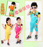 2013 new Korean version of the moon duck panda suit boys and girls short-sleeved short-sleeved sweater Child