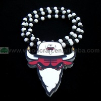 USA chigago team wooden bull pendant necklace for men hip hop style black bead chain fast shipping