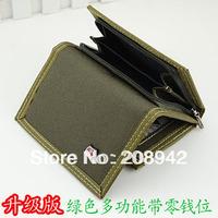 2014 Best Seeling brief men's canvas wallet short design sport zipper purse Free Shipping
