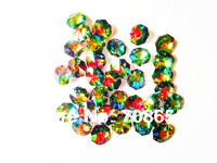 HOT SALE 1000pcs 14MM MULTICOLOURED OCTAGON CRYSTAL GLASS BEADS CHANDELIER CHAIN PARTS IN TWO  HOLES