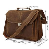 Vintage handmade genuine crazy horse real leather men's briefcase/ business portfolio shoulder bag/ laptop/messenger bags formen