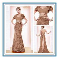 Real Photos Fashion Sheath Gold Flower Turkish Free Jacket Evening Dresses(EVFA-1117)