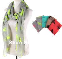 2013 Newest Neon Horse Animal Pattern Voile Scarf Big Size Shawl Wraps Hijabs 5colors 10pcs/lot FREE SHIPPING
