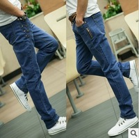 Free shipping! 2013 Korean men's slim fit jeans men's denim trousers feet pants jeans