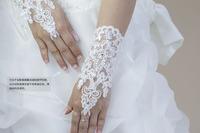 Elegant lace rhinestone light the bride long design short design gloves wedding dress formal dress accessories