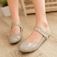 4colors big size round toe buckle strap fashion sweet women shoes patent leather autumn shoes US 4-10.5 JF125Q