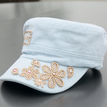 Spring and summer diamond sparkling diamond denim cap all-match sun-shading baseball cap casual cap cadet cap