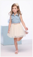 Pre-sale Big girl summer dress 2013 Denim Dress Puff with belt 9A~14A teenage girls' dresses 3pcs/lot