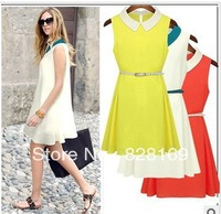 Free shipping 4 colors 2013 most popular belt waist chiffon dress sleeveless vest lapel bright
