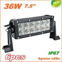 6pcs Free Shipping New 36W LED Work Light  Bar 12V 24V IP67 Flood Spot beam For 4WD 4x4 Off road Light Bars TRUCK BOAT TRAIN BUS