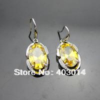 Free Shipping 100% Silver Fashion Jewelry 9x13mm Oval Citrine  Cubic Zircon Drop Earrings (PSJ006472)