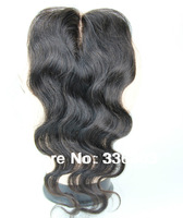 Clear middle part closure,beauty queen hair peruvian closure body wave with bleached knots, baby hair,natural hairline