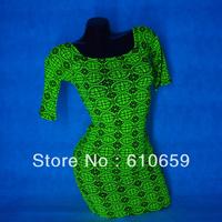 UV GLOW Sexy Clubwear Mini Dress 3/4 Sleeve tank neckline Lycra Retro Totem print M228