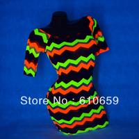 UV GLOW Sexy Clubwear Mini Dress 3/4 Sleeve tank neckline Undulation print M226
