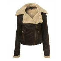 2013 Winter Fashion Side Zipper Fur lining Short Buckle Women Leather Jacket Coat