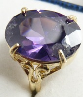 18K Gold plated Purple Amethyst Ring Free shipping Fashion bohemian jewelry for men
