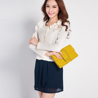 Free Shipping 2013 women's bow beading slim 1358 jacquard coat