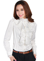 Free Shipping Royal elegant long-sleeve 2013 stand collar lace female shirt 1310