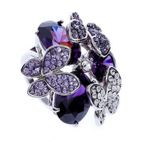 New Styles Fashion Wedding Rings For Women Purple Water Drop Cubic Zirconia Amethyst Butterfly With SWA Element Crystal J00973