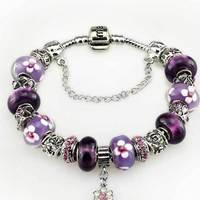 Free shipping,8*13 mm, Purple love with flower beads pattern fashion lampwork glass bracelets women
