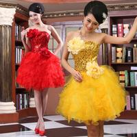 Free shipping Rommel wedding dress formal dress short dress bridesmaid dress design princess