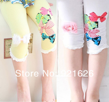 Wholesale Korea Spring Fashion Bow Lace Girls Leggings Children's Wear Children Cotton Pants White Red 2Colors Free Shipping