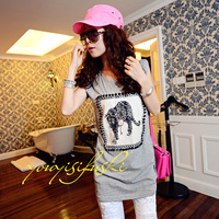 Free Shipping 9023 2013 casual tiger print handmade rivet medium-long sleeveless loose t-shirt  Women